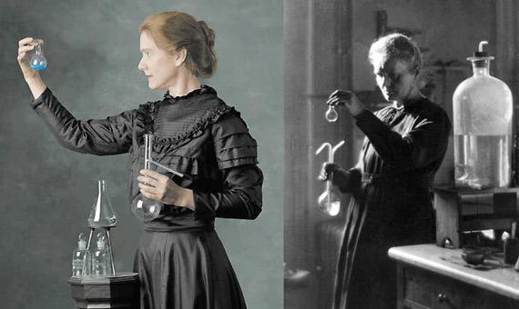 """""""El retrato más famoso de Marie Curie (a la izquierda) es en realidad una foto de la actriz Susan Marie Frontczak, tomada por Paul Schroder en 2001. A la derecha, una fotografía real de la verdadera madame Curie"""""""