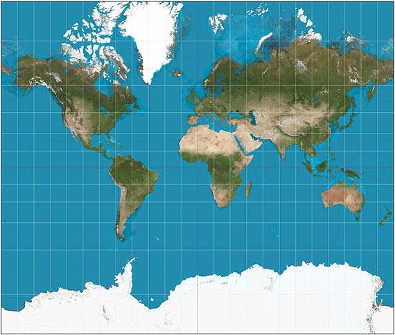 En la proyecci贸n de Mercator, Europa sale bien proporcionada pero los tama帽os est谩n exagerados en las zonas polares
