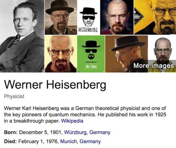 La popularidad del Heisenberg de ficción esconde la imagen del científico real en Google