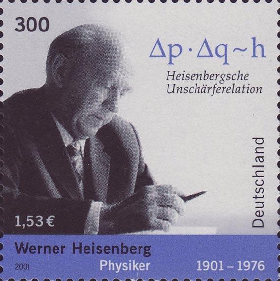 Sello alemán que conmemora el centenario de Heisenberg y destaca su principio de incertidumbre. Crédito: Deutsche Post