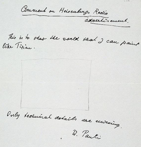 """Carta de Pauli, en la que critica el """"anuncio radiofónico de Heisenberg"""". Crédito: CERN"""