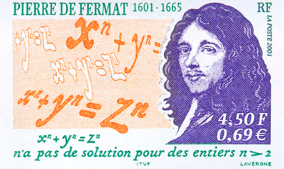 Stamp with the image of the mathematician Pierre de Fermat / Image: Public domain via