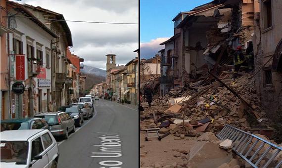 El antes y el después del terremoto de agosto de 2016 en Amatrice (Italia). Crédito:Google Maps/Valerio de Cesaris