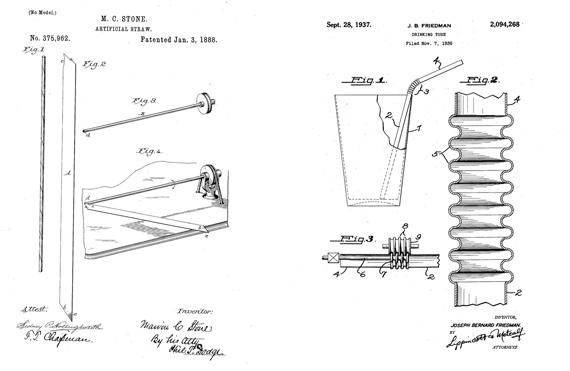 Patentes de Marvin Stone (izquierda, 1888) y Joseph Friedman (derecha, 1937). Crédito: US Patent and Trademark Office