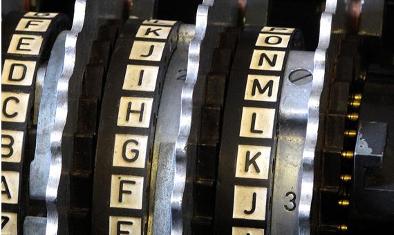 Rotores con sus alfabetos en una máquina Enigma. Crédito: TedColes