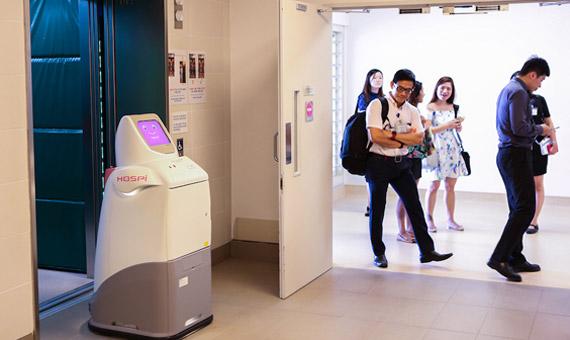 El robot HOSPI en un hospital de Singapur. Crédito: Panasonic