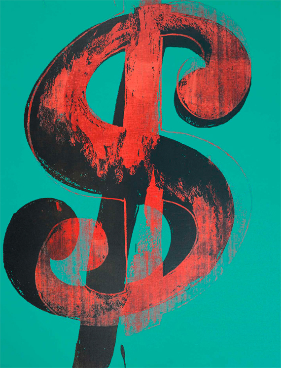 BBVA, OpenMind. The First Age: The Creation of Shared Beliefs. Skinner. Andy Warhol, Dollar Sign, c. 1981 Synthetic polymer paint and silkscreen ink on canvas, 35.56 x 27.94 cm, The Andy Warhol Foundation for the Visual Arts, Inc., New York, USA.