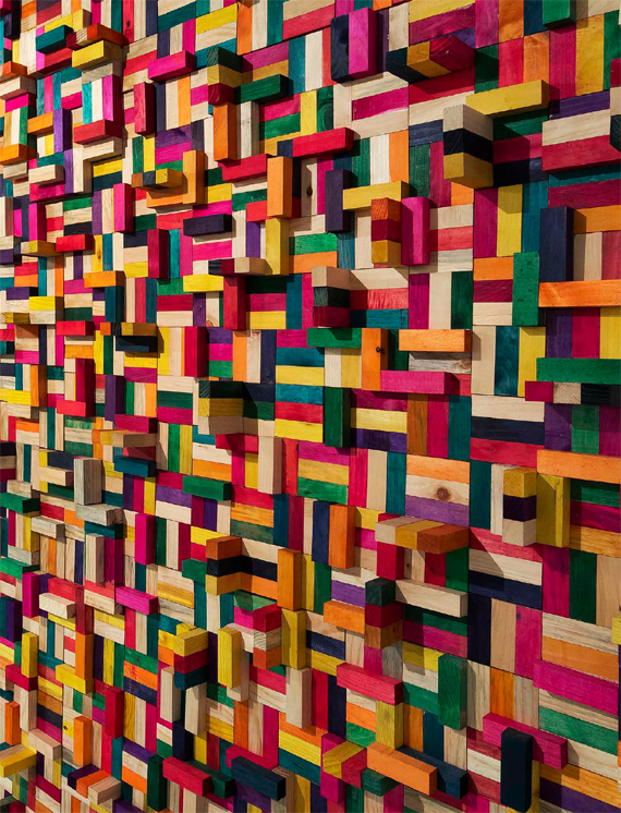 "BBVA, OpenMind. The Next Step in Finance: Exponential Banking. Francisco Gonzalez.Eduardo Terrazas, 14.23. ""Museo de lo cotidiano"" Series (2014) Dyed wooden blocks mounted on a wooden frame, Monclova Projects Collection, Mexico City, Mexico."