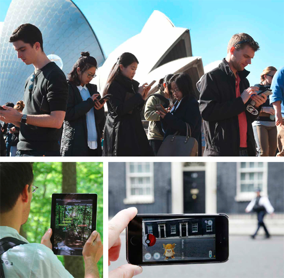 BBVA, OpenMind. Augmented Environments and New Media Forms. Bolter. Engberg. Just days before its release on July 6, 2016, Pokemon Go, the augmented reality videogame developed by Niantic, reached forty-five million active users. In the top and right images: people capturing Pokemons at the Sidney Opera House in Australia and at Number 10, Downing Street, London, UK. In the left image: an augmented reality app used as a street map.