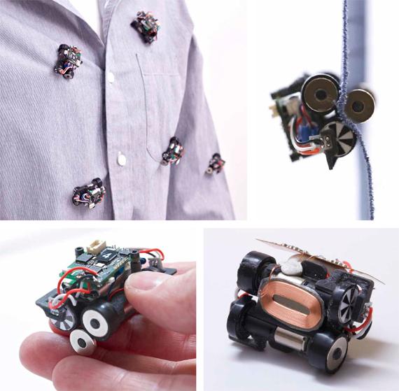 Los Rovables, un enjambre de robots en miniatura diseñados para desplazarse y navegar por la ropa. Un rodillo magnético en el interior de la tela fija los robots a la superficie de la ropa y pueden recargarse solos cuando están cerca de una bobina de inducción integrada en la prenda de vestir