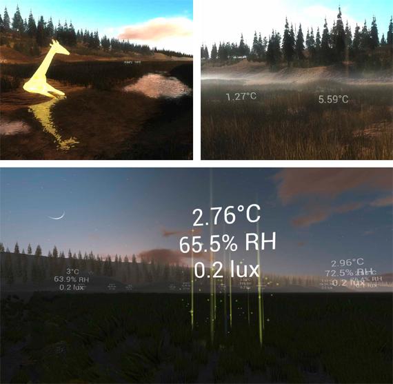 Renders de Don Derek Haddad del paisaje virtual de Tidmarsh hechos con la aplicación DoppelMarsh, que muestra datos de sensores en tiempo real a modo de texto superpuesto, densidades de lluvia y niebla virtuales que replican la sensación atmosférica (arriba a la derecha), un animal virtual «alimentándose» de datos generados por sensores para ilustrar visualmente el historial del entorno (arriba a la izquierda) y un nodo sensor que sube datos al atardecer (abajo)