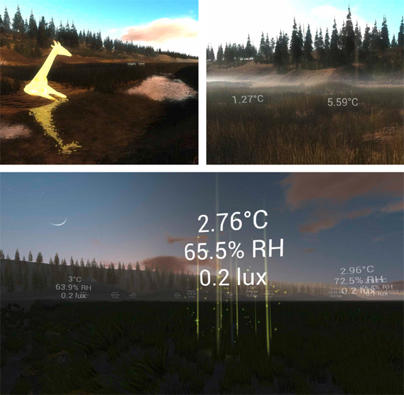 """BBVA, OpenMind, Our Extended Sensoria. How Humans Will Connect with the Internet of Things, Paradiso. Renderings by Don Derek Haddad of the virtual Tidmarsh landscape in our Doppelmarsh application, showing real-time sensor data rendered as text overlays, virtual rain and fog densities mirroring actual sensed conditions (top right), a virtual animal """"feeding"""" on sensor data to provide visual indication of historical state (top left), and a sensor node uploading data at dusk (bottom)."""