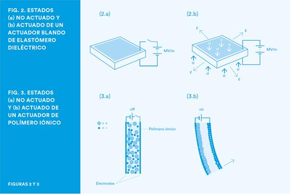 BBVA, OpenMind, La robótica, los materiales inteligentes y su impacto futuro para la humanidad, Rossiter, Actuador blando de elastomero dielectrico y actuado de un actuador de polimero ionico
