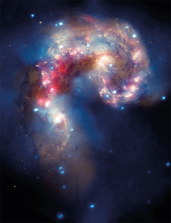 BBVA, OpenMind. Interstellar Travel and Post-Humans. Rees. The Antennae Galaxies, located about sixty-two million light-years from Earth, take their name from the long, antenna-like arms seen in wide-angle views of the system. These features were produced in the collision.