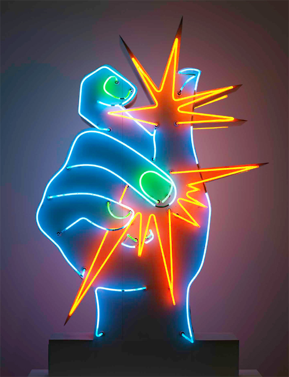 BBVA, OpenMind, Artificial Intelligence and the Arts: Toward Computational Creativity, Lopez de Mantaras, Martial Raysse, America, America (1964) Neon, painted metal, 2.4 x 1.65 x 0.45 m, Centre Pompidou–Musée national d'art moderne–Centre de création industrielle, Paris, France.