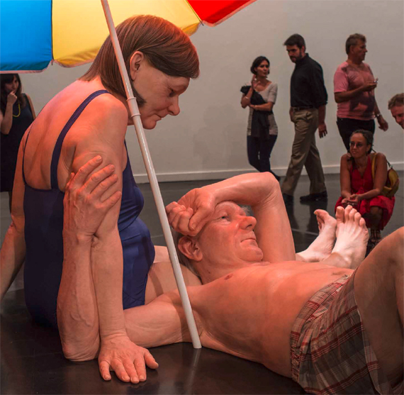BBVA, OpenMind. Tackling Climate Change Through Human Engineering. Liao. Ron Mueck, Couple Under An Umbrella (2013). Various materials, 300 x 400 x 350 cm.