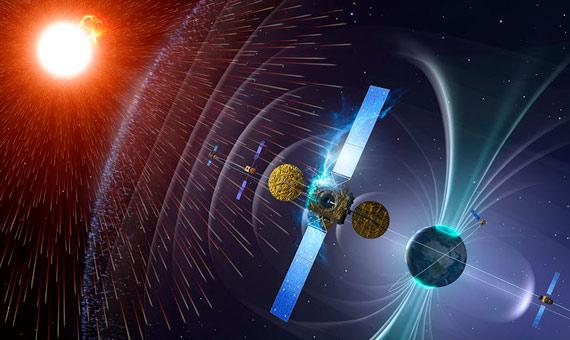 Ilustración 2: El Sol y la Tierra interactuando durante la eyección de masa coronal (CME). Normalmente el intenso campo magnético de nuestro planeta nos protege del flujo de partículas de alta energía que procede de nuestra estrella. Crédito NASA.