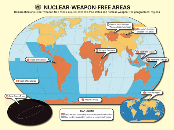 Ilustración 1:Regiones del planeta en donde las armas nucleares están prohibidas. Crédito UNODA.