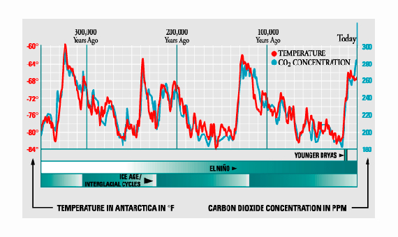 Ilustración 2: Correlación entre las medidas de CO2 y la temperatura media. Global Warming Facts and Our Futures y Kurt Cuffey, University of California, Berkely.