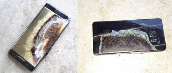 Un Samsung Note 7 después de explotar por un fallo en la batería. Crédito: Crushader (Reddit)