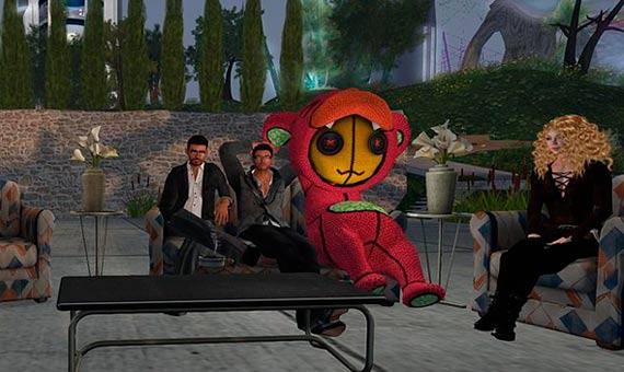 Reunión para oír radio en directo en el mundo virtual Second Life. Crédito: Wikimedia Commons