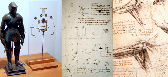 El caballero autómata diseñado por Leonardo Da Vinci. Crédito: Wikimedia Commons