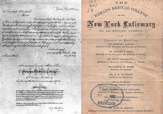 Carta de admisión de Elizabeth Blackwell en la facultad de Medicina y anuncio del primer hospital para mujeres. Crédito: Wikimedia Commons
