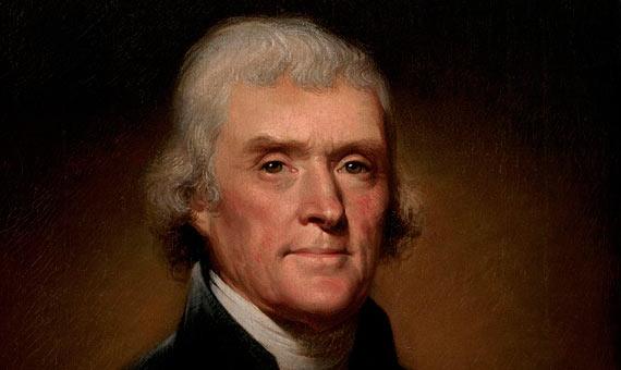 Official Presidential portrait of Thomas Jefferson. Author: Rembrandt Peale