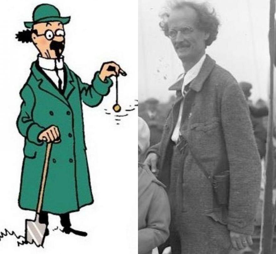 El dibujante de Tintín se inspiró en Piccard para crear al profesor Tornasol. Crédito: Wikimedia Commons