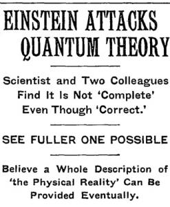 Einstein attacks Quantum Mechanics