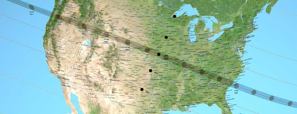 . Investigadores de la NASA han producido el mapa más detallado jamás creado para el camino de la totalidad de un eclipse solar, para ilustrar lo que ocurrirá el 21 de agosto de 2017. Crédito: ASA/Goddard/SVS/Ernie Wright