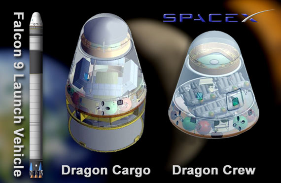 Artist's concept of SpaceX's Falcon 9 Launch Vehicle and Dragon crew and cargo capsules / NASA