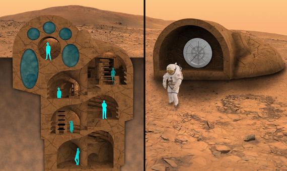 La casa bajo el suelo de Marte tiene una estructura vertical que sigue las cavidades del terreno. Crédito: RedWorks - Lancaster, CA.