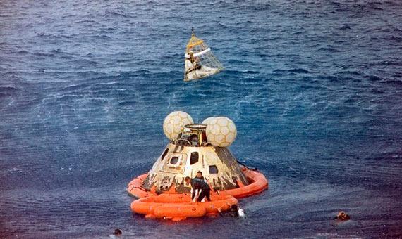 Operación de rescate de los tripulantes del Apolo 13. Crédito: NASA