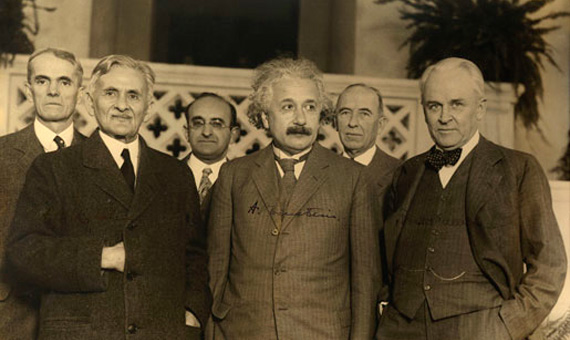 First row from the left: Albert A. Michelson, Albert Einstein and Robert A. Millikan at Caltech in 1931 / Source: Smithsonian Institution Libraries