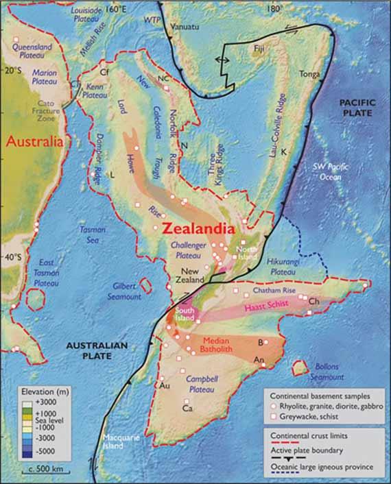 Límites espaciales propuestos para el 'nuevo continente' Zelandia (modificado de Mortimer et al., 2017, doi: 10.1130/GSATG321A.1). NC, Nueva Caledonia; WTP, Meseta de Torres del Oeste; CT, Fosa de Cato; Cf, Islas Chesterfield; L-Isla de Lord-Howe; N Isla de Norfolk; K, Islas Kermadec; Ch, Islas Chatham; B, Islas Bounty; An, Islas Antípodas; Au, Islas Auckland; Ca, Isla de Campbell. Proyección Mercator