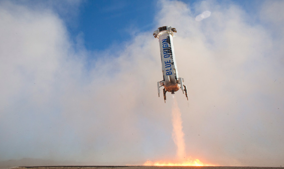 Una de las naves de Blue Origin despegando. Crédito: Blue Origin