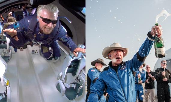BBVA-OpenMind-Materia-Carrera espacial-NewSpace 4-Los CEO de Virgin Galactic y Blue Origin Richard Branson (izquierda) y Jeff Bezos (derecha) culminaron en 2021 sus respectivas misiones de viajar al espacio. Crédito: Virgin Galactic y Blue Origin