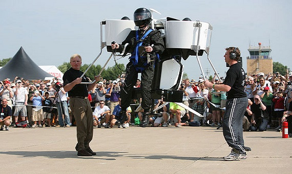 The first public flight of the Martin Jetpack in 2008. Credit: MartinJetpack