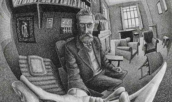 """Escher reflejado en su """"Mano con esfera reflectante"""". Crédito: M.C. Escher"""