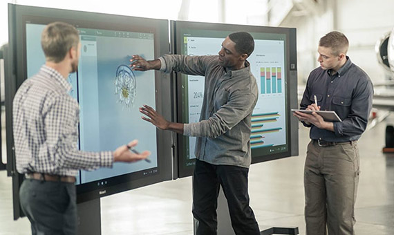 The futuristic table-t was based on the Microsoft Surface. Credit: Microsoft Surface Hub