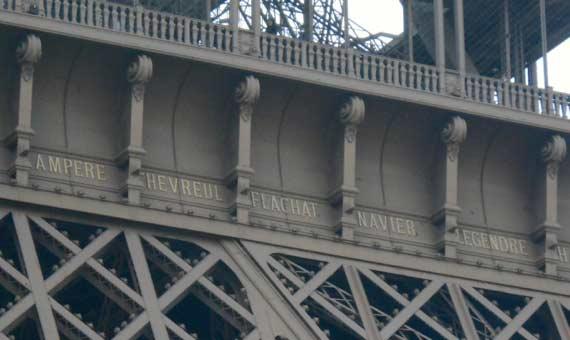 Imagen del lateral de la Tour Eiffel frente al Trocadero en el que está escrito el nombre de Ámpere (izquierda) / Autor: Augusto Beléndez
