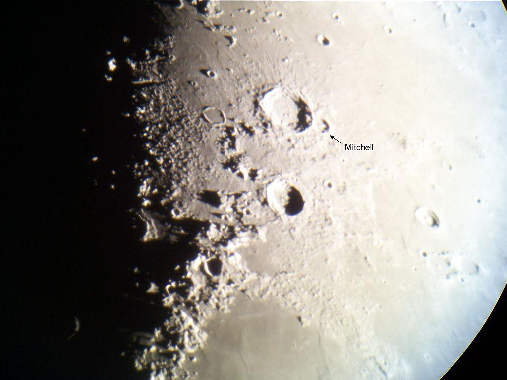 Localización del cráter lunar nombrado en honor a Maria Mitchell. Crédito: Eric S. Kounce / West Texas Astronomers