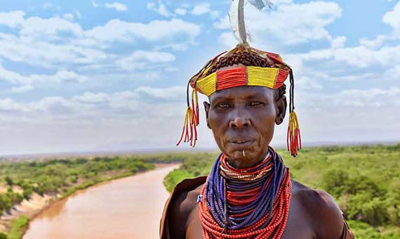 Ethiopians have very dark skin, secreting much melanin to defend against solar radiation, very high in that region. Credit: Rod Waddington
