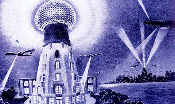 Illustration of Tesla's system of wireless transmission of power to aircraft. Credit: Frank Paul