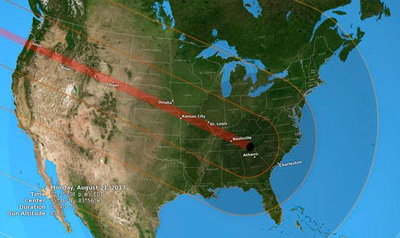 Estados Unidos durante el eclipse total del 21 de agosto de 2017, mostrando la umbrales, la penumbra y el recorrido total. Crédito: NASA/Goddard Space Flight Center Scientific Visualization Studio