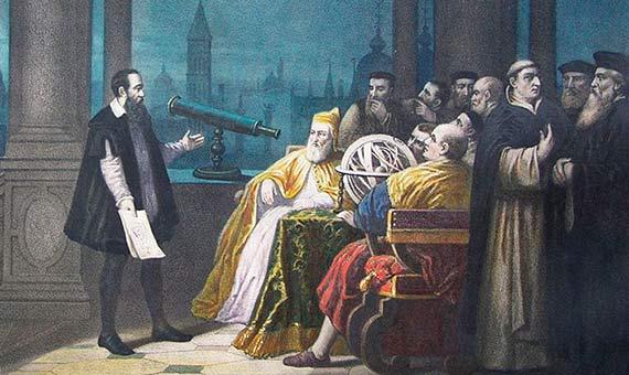 Representación de Galileo Galilei presentando su telescopio en Venecia. Autor: H. J. Detouche