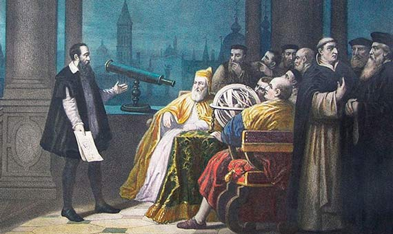 Representation of Galileo Galilei displaying his telescope in Venice. Author: H. J. Detouche