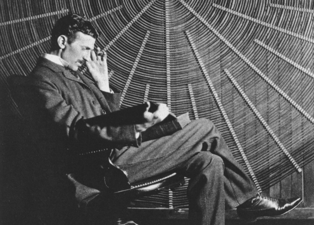 Nikola Tesla with his coil in 1896. Credit: Electrical Review