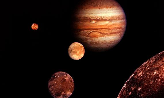 Jupiter y los satélites galileanos. Crédito: NASA/JPL